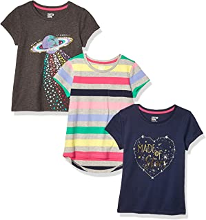 Amazon Brand - Spotted Zebra Girl's 3-Pack Short-Sleeve Novelty T-Shirts