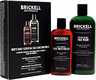 Brickell Men's Daily Essential Face Care Routine II, Purifying Charcoal Face Wash and Daily Essential Face Moisturizer, Na...
