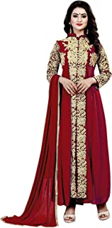Ethnic Empire Women's Georgette Semi Stitched Salwar Suit(Ethnic_ER110125_ Red_Free Size)