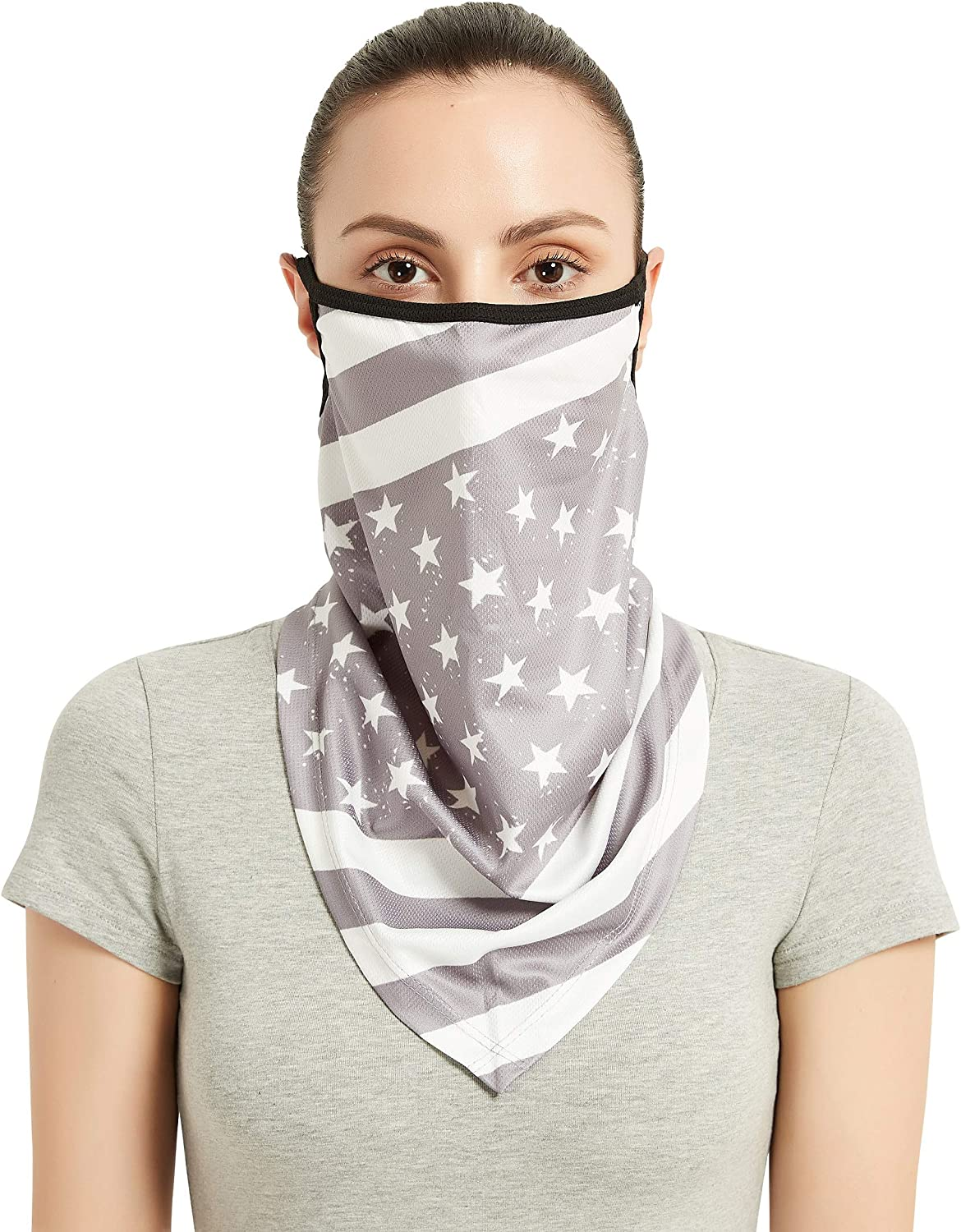 AWLE Summer Face Scarf with Ear Loops, Cooling Sport Neck Gaiter Bandana Headwear for Dust Wind UV Protection