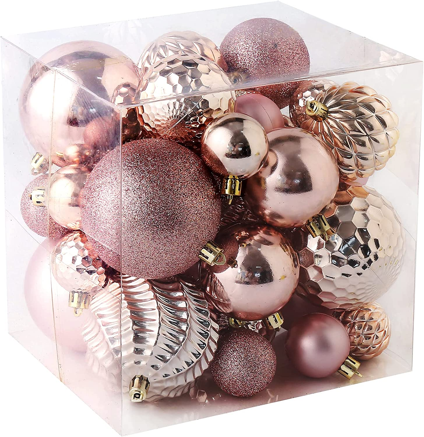 Christmas Balls Ornaments -36pcs Shatterproof Christmas Tree Decorations with Hanging Loop for Xmas Tree Wedding Holiday Party Home Decor,6 Styles in 3 Sizes(Rose Gold)