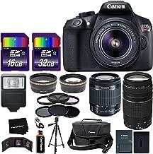 Canon EOS Rebel T6 DSLR Camera + EF-S 18-55mm Lens + 75-300mm III Zoom Lens + Bundled with Telephoto & Wide Lenses + Canon Case + Flash + ND & UV Filter Set + 48GB SD Memory + Tripod w/HeroFiber