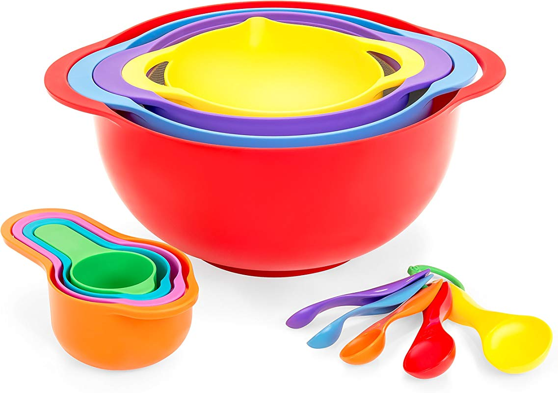 Best Choice Products 13 Piece BPA Free Stackable Kitchen Mixing Bowl Set W Measuring Cups Colander Multicolor