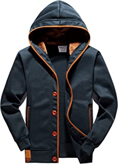 Men's Fleece Hoodie Button-up Jacket Hooded Sweatshirt