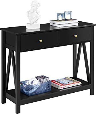 Espresso X-Design Entryway Table for Hallway Living Room and Bedroom Sofa Side Table Giantex Console Table 3-Tier W//Drawer and Storage Shelves