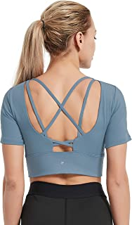 DEMOZU Women's Workout Crop Top Scoop Neck Padded Bra Short Sleeve Shirt