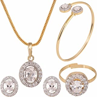 Efulgenz Fashion Jewelry Set Halo Oval Cubic Zirconia Crystal Pendant Necklace Set with Earrings, Bracelet and Ring for Wo...
