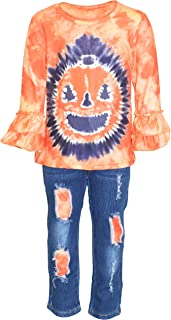 Sponsored Ad - Unique Baby Girls Halloween Pumpkin Ripped Denim 2pc Outfit
