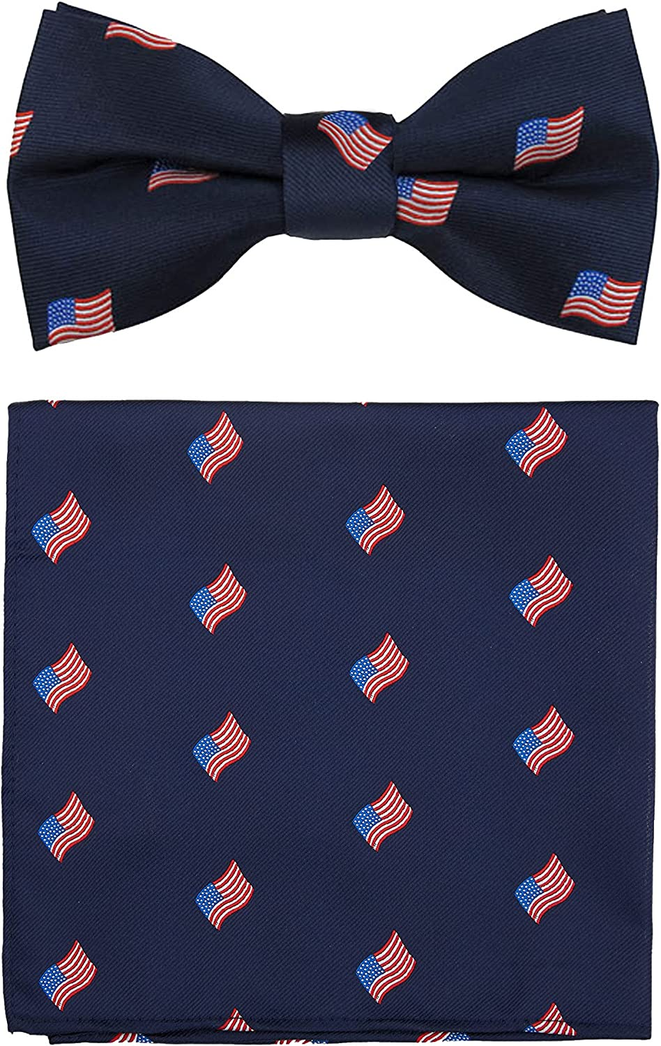 Jacob Alexander Men's Woven American Flags USA Navy Pre-Tied Clip-On Bow Tie and Pocket Square Set