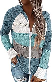 BLENCOT Sudadera Mujer Jersey con Capucha Mujer Sudaderas con Capucha Mujer Sweatshirt Mujer Suéter Mujer Cardigan de Mang...