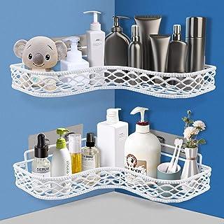 POWERKKM Étagère d'angle de salle de bain, étagère d'angle de douche, sans perçage, organisateur de rangement adhésif mural