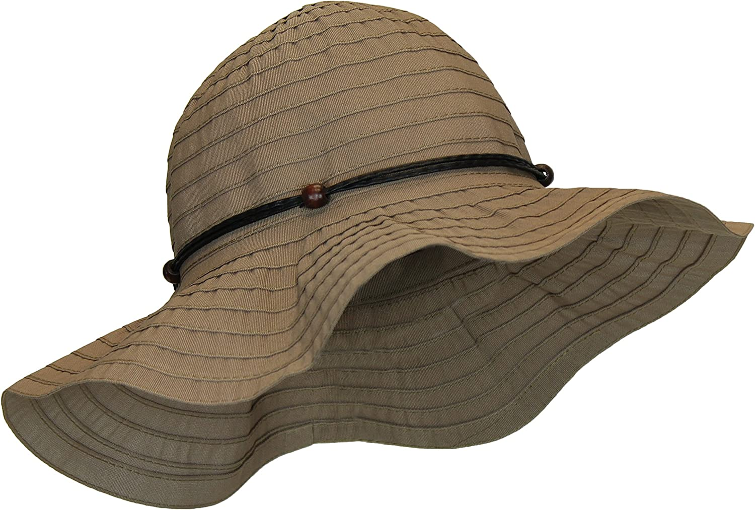 Kallina Women's Summer Hat w/Beads and Leatherette Trim, UPF 50+, Packable/Crushable