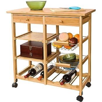 Kitchen Trolley Chariot de cuisine SoBuy FKW04-N Desserte /à roulettes en Bois Meuble rangement cuisine roulant 67x37x75cm