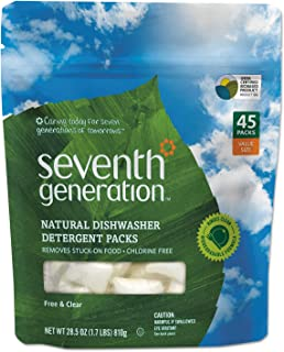 Seventh Generation 22897CT Natural Dishwasher Detergent Concentrated Packs, Free & Clear, 45 Per Pack