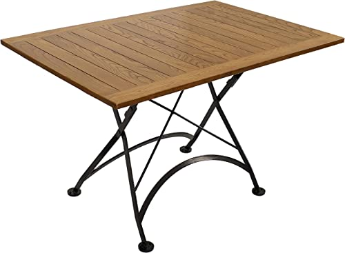 discount Sunnydaze European Chestnut Wood Folding Dining Table - Large Portable Rectangular outlet sale Indoor/Outdoor Table - Perfect for Your Patio, Camp Site or Kitchen - 47 inches x 2021 31 inches outlet sale