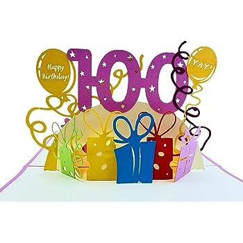 Amazon Com Hallmark 100th Birthday Greeting Card 100th With Confetti Office Products