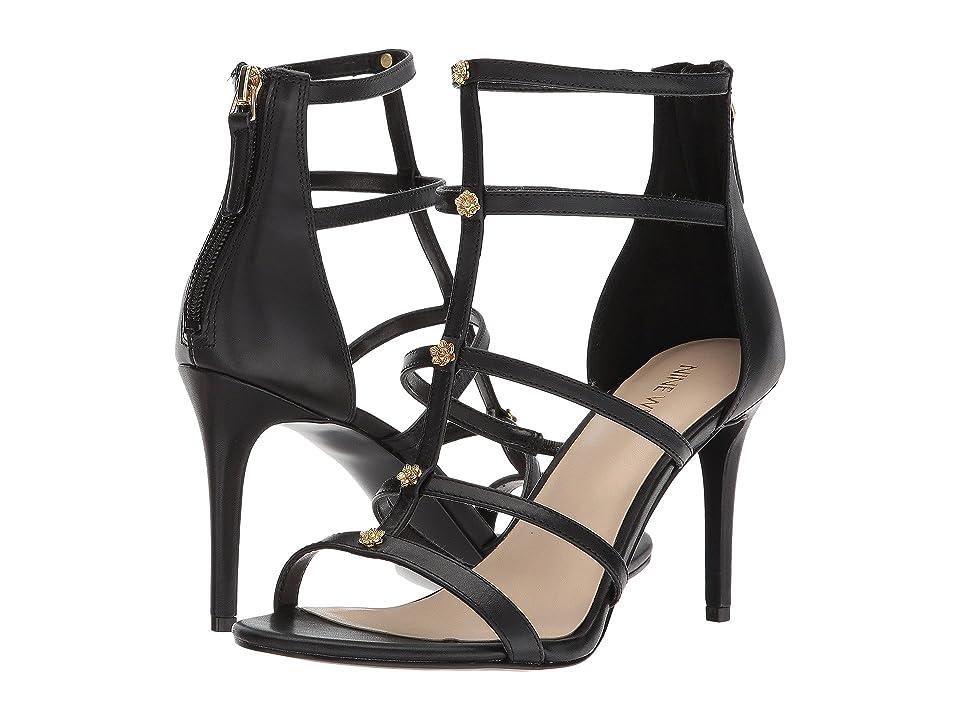 Nine West Nayler Strappy Heel Sandal (Black Soft Calf) High Heels