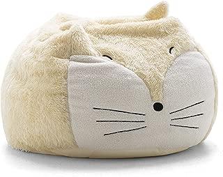 Big Joe Lux Wild Bunch Fox, Super Soft Plush Bean Bag, Cream/White