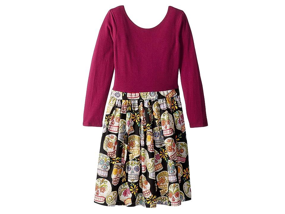 fiveloaves twofish Sugar Skull Abbie Dress (Little Kids/Big Kids) (Magenta) Girl