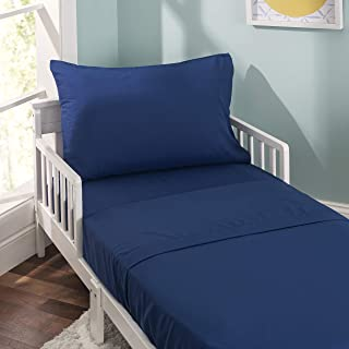 EVERYDAY KIDS 3 Piece Toddler Sheet Set - Soft Microfiber, Breathable and Hypoallergenic Toddler Bedding - Includes a Flat Sheet, a Fitted Sheet and a Pillowcase - Solid Navy