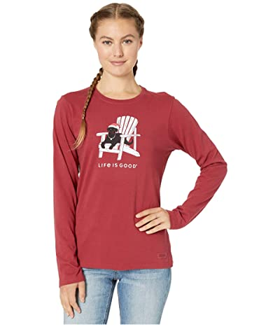 Life is Good Let Love Shine Long Sleeve Crushertm Tee (Cranberry Red) Women