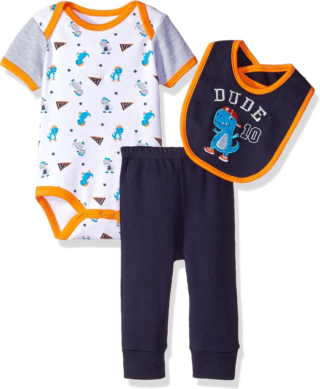Bon Bebe Baby Boys' 3 Piece Set with Shortsleeve Bodysuit Bib and Turn-me-Round Pant