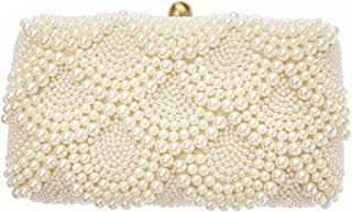 Solange Pearl Beaded Box Clutch Bridal Bag, Ivory