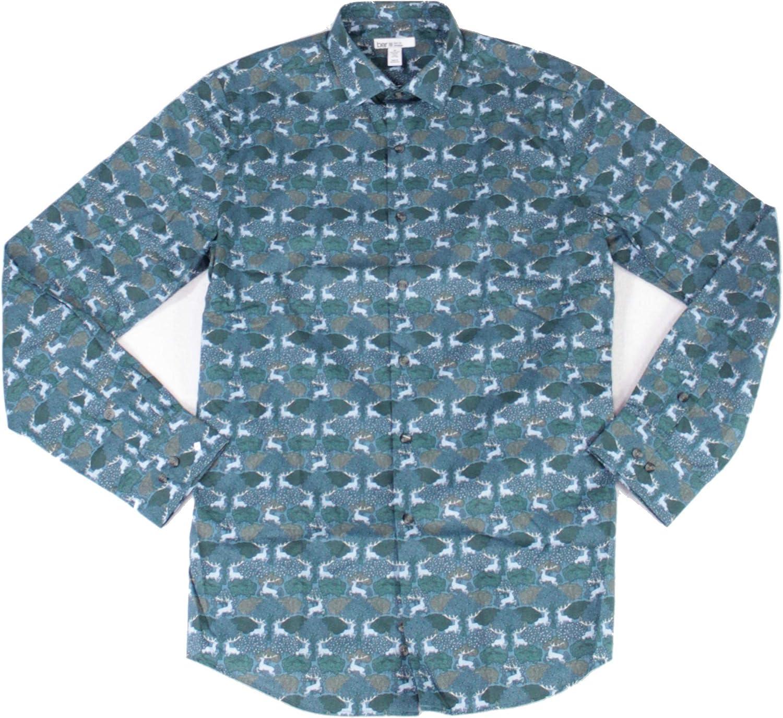 bar III Mens Dress Shirt Medium 15-15 1/2 Animal Slim Fit Blue M