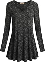 Miusey Women's V Neck Long Sleeve Flared Shirt Flowy Loose Fit Casual Tunic Tops