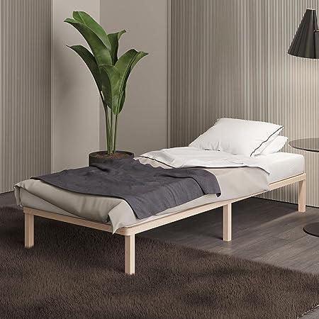 Sommier 120x200 cm Lisette- Lit Futon Simple avec Lattes en Bois de Bouleau FSC - Style Scandinave - Nouveau modèle avec Pieds carrés - Lit d'Appoint Parfait