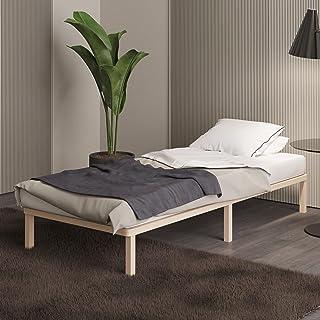 Sommier 90x200 cm Lisette- Lit Futon Simple avec Lattes en Bois de Bouleau FSC - Style Scandinave - Nouveau modèle avec Pi...