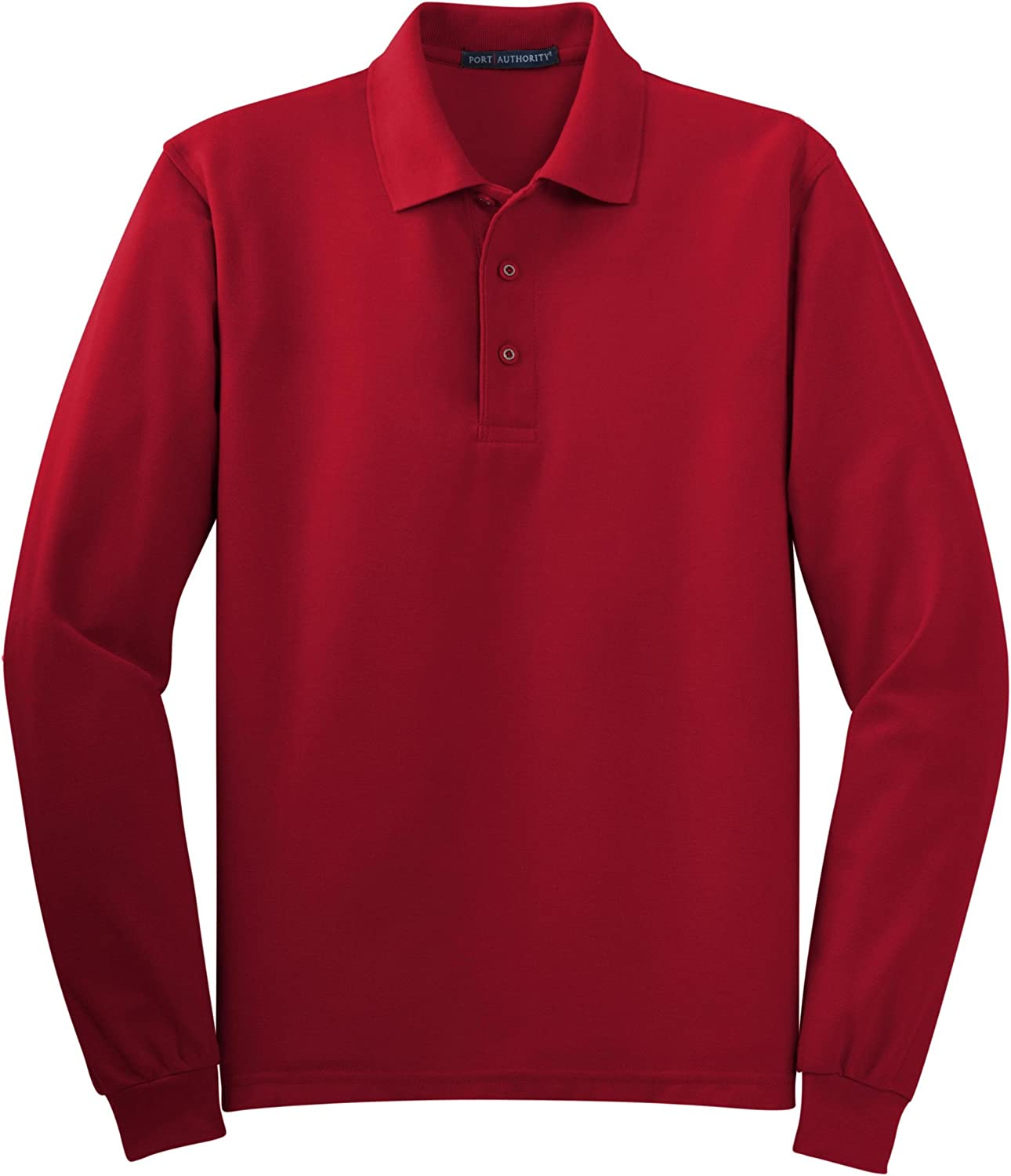 Port Authority Tall Silk Touch Long Sleeve Polo Shirt, 4XLT, Red