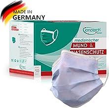 Mond- en neusbescherming type IIR, 50 stuks, Made in Germany, gecertificeerd volgens DIN 14683, CE, BFE > 99%.