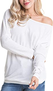 Aifer Women's Off Shoulder Knit Tops Batwing Sleeve Loose Pullover Sweater Jumper Tops