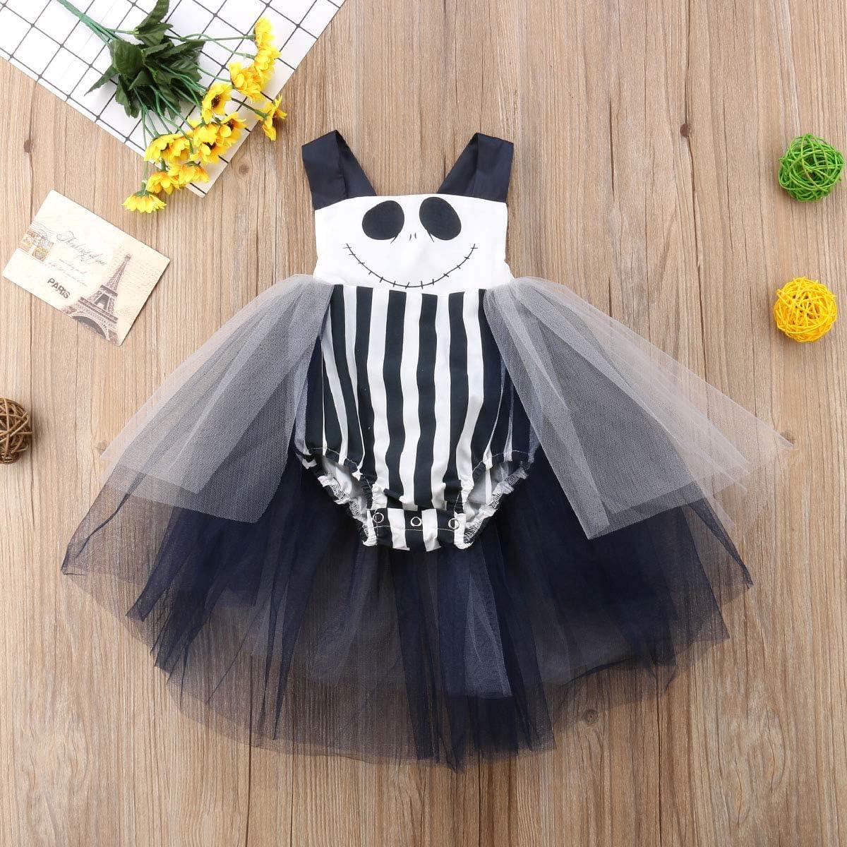 Toddler Kids Baby Girls Halloween Dress Pumpkin Tutu Dress Ghost Skirts Halloween Outfits