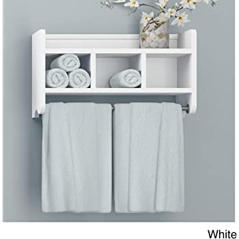Amazon Com Alaterre Furniture Logan Bath Storage Shelf With Two Towel Rods 25 White Furniture Decor