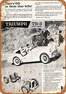 Greki Metal Signs - 1959 Triumph TR-3 Sports Car 12X16 Tin Sign - Vintage Look Wall Decor Sign