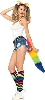Costumes 2Pc.Rainbow Fox Kit Ear Headband and Furry Tail with Belt Loop