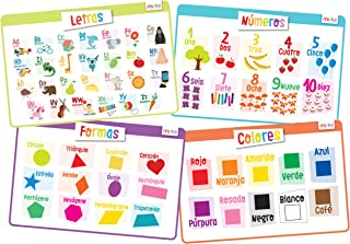 merka Educational Placemats for Kids - En Español - Bundle of 4 Mats - Learn Spanish Thru Letters, Numbers, Shapes and Colors - Non Slip, Washable and Reusable - Aprenda Español