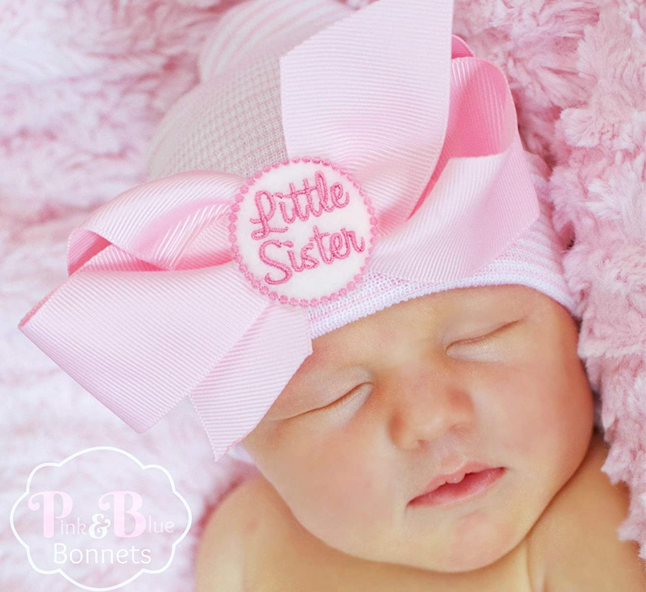 Little Sister Newborn girl beanie with bow, hospital baby hat 0-3 months, Infant Beanie Cap