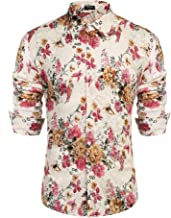 COOFANDY Men's Floral Dress Shirt Long Sleeve 70s Printed Casual Button Down Shirts