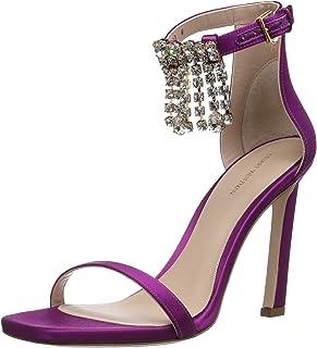 Stuart Weitzman Women's 100FRINGESQUARENUDIST Sandal, Grape Silk Satin, 8 M US