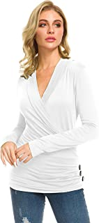 Afibi Womens Deep V Neck Wrap Pleated Slim Top Tee Long Sleeve Ruched T Shirt