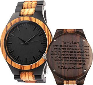 Personalized Wood Watch for Men, Husband Gifts from Wife, Birthday Gifts for Husband, Boyfriend
