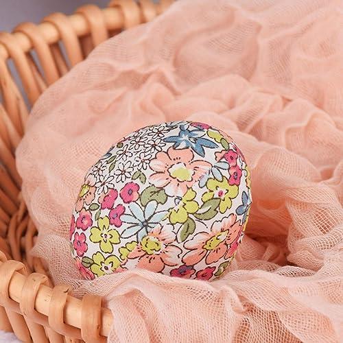 popular Colorful Easter Eggs Plastic Egg Decorative Egg Easter Egg Household online sale Ornaments Easter Decorations Cloth popular Floral Egg online
