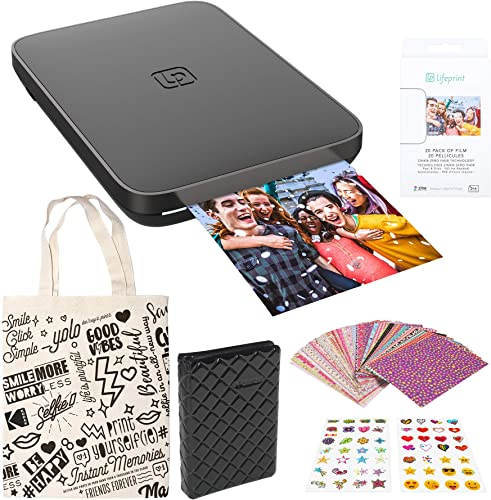 lowest Lifeprint 3x4.5 Portable Photo high quality lowest and Video Printer (Black) Sticker Edition online