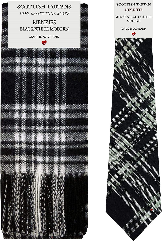 Menzies Black/White Modern Tartan Plaid 100% Lambswool Scarf & Tie Gift Set