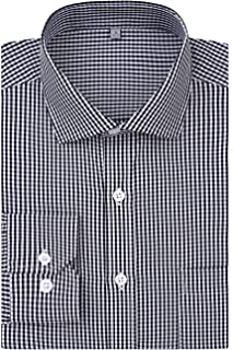 DOKKIA Men's Formal Business Long Sleeve Plaid Striped Poplin Dress Shirt