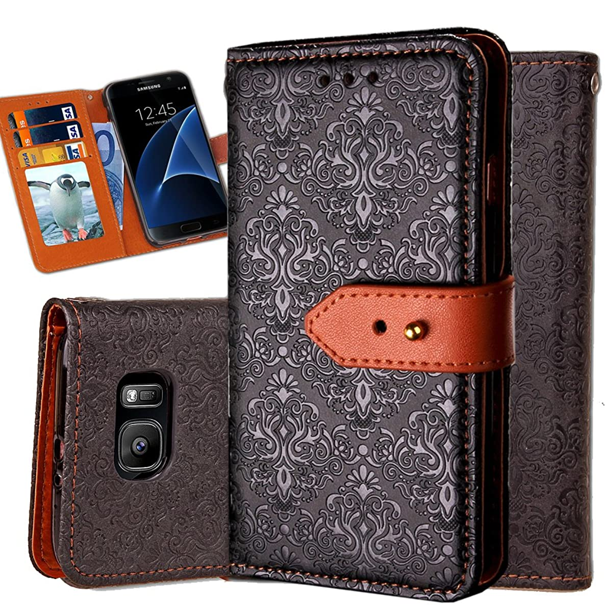 Galaxy S7 Edge Wallet Case,Auker Ultra Slim Vintage Leather Folio Flip Book Style Fold Stand Case Fashion Purse Carrying Phone Cover with Card Holders&Hidden Pocket for Samsung Galaxy S7 Edge (Black)