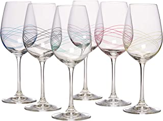 Bezrat Classic Beautifully Designed Stemmed Wine Glasses- Made from 100% Lead-Free Premium Crystal Glass - Red or White Wines- Drinking Goblets Glasses Set Set of 6